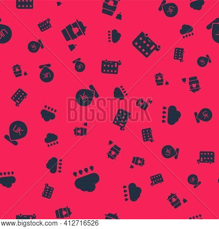 Set Cloud With Rain, Coffee Cup To Go, Location England And Double Decker Bus On Seamless Pattern. V