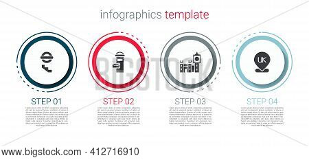 Set London Underground, Mail Box, Big Ben Tower And Location England. Business Infographic Template.