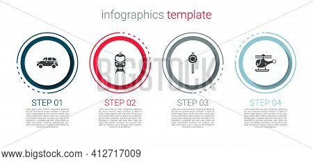 Set Hatchback Car, Train And Railway, Road Traffic Signpost And Helicopter. Business Infographic Tem