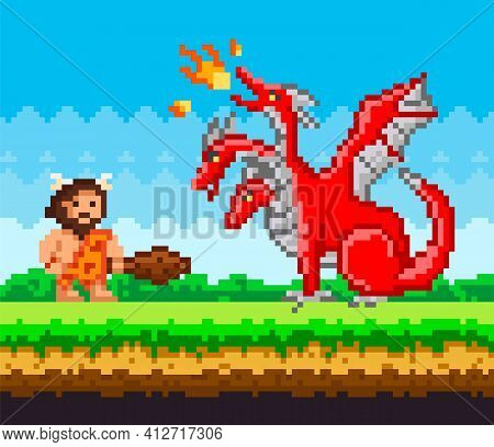 Pixelated Caveman Holding Baton Fighting Against Three-headed Dragon Breathing Fire In Pixel-game