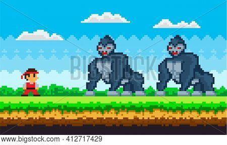 Pixel Art Game Background With Ninja Warrior Fighting With Pixelated Gorillas Huge Animals