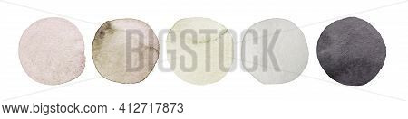 Wedding Pastel Color Swatch. Watercolor Dot Collection. Hand Painted Spots On White Background. Roun
