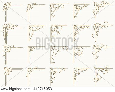Vintage Corner Frames With Different Shapes. Set Of Isolated Decorative Angle Borders. Flourish Vect