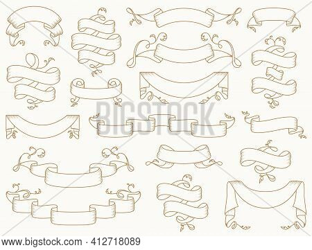 Vintage Ribbons With Antique Flourishes. Vector Set. Collection Of Elegant Outline Banners Isolated
