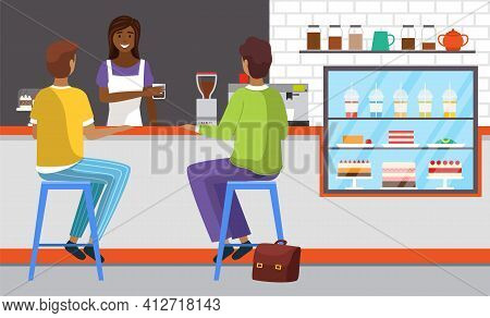 Friendly Saleswoman Working And Selling Fresh Drink. People Order Food At Checkout In Modern Cafe