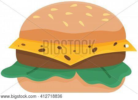 Vector Hamburger With Cheese, Chop, Lettuce. Illustration For Design Fast Food Menu. Hamburger Icon