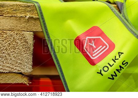 Moscow, Russia - December 16, 2020 Yolka Wms Badge On Yellow Signal Vest Close Up View. Yolka Wareho