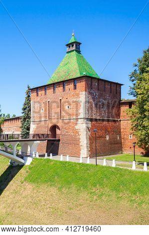 Tower Of Nicholas Or Nikolskaya Tower Of Nizhny Novgorod Kremlin. Kremlin Is A Fortress In The Histo