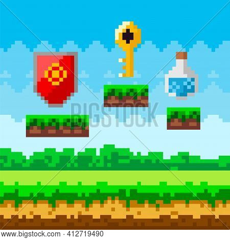 Pixel Art Game Background With Reward Object In Air. Pixel-game Scene With Valuable Award For Player