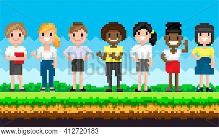 Pixel Female Characters For Pixel-game Stand Against Background Of Nature Landscape With Blue Sky