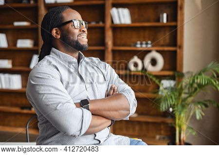 I Made This. Portrait Of Ambitious Confident Black Leader, Ceo, Standing With Arms Crossed On Chest