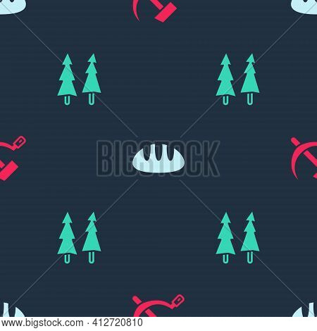Set Hammer And Sickle Ussr, Bread Loaf And Christmas Tree On Seamless Pattern. Vector
