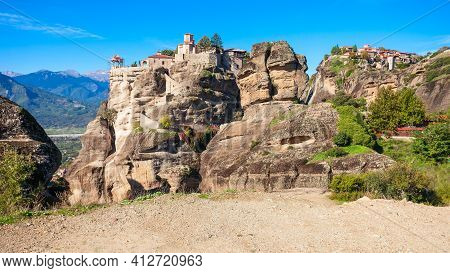 The Monastery Of Varlaam And The Monastery Of Great Meteoron At The Meteora. Meteora Is One Of The L