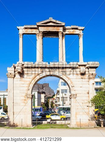 The Arch Of Hadrian Or Hadrian's Gate Is A Monumental Gateway Resembling In Some Respects A Roman Tr
