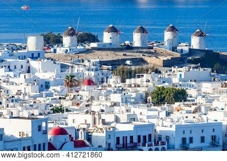 The Mykonos Windmills Are Iconic Feature Of The Greek Island Of The Mykonos. The Island Is One Of Th