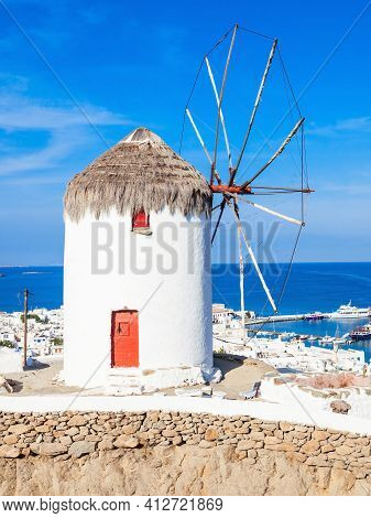 Boni Or Bonis Windmill At The Folklore Agricultural Museum In Mykonos Town, Island Of Mykonos, Cycla
