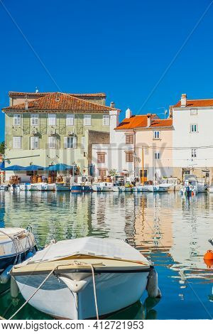 Boats In Marina In The Town Of Cres, Waterfront, Island Of Cres, Kvarner, Croatia, Touristic Destina