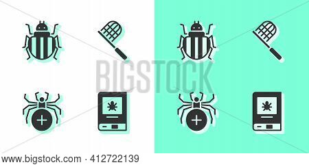 Set Book About Insect, Colorado Beetle, Spider And Butterfly Net Icon. Vector
