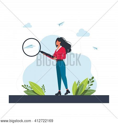 Young Woman Holding And Analyse With Big Magnifier Glass. Girl With Giant Loupe. Businesswoman Looki