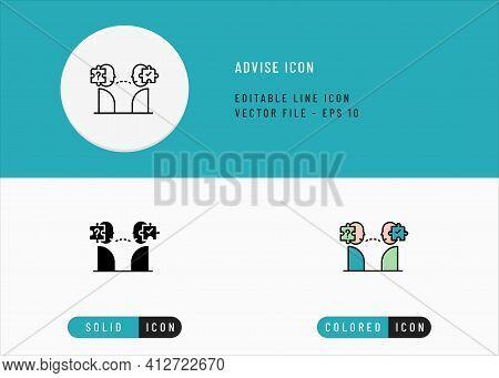 Advise Icons Set Editable Stroke Vector Illustration. Problem Solving Conversation Symbol. Icon Line