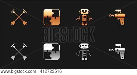Set Arrow With Sucker Tip, Puzzle Pieces Toy, Robot And Ray Gun Icon. Vector
