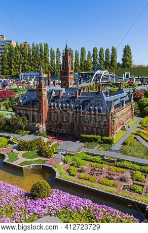 The Hague, Netherlands - April 26, 2017: The Peace Palace - International Court of Justice in Madurodam miniature park in The Hague.