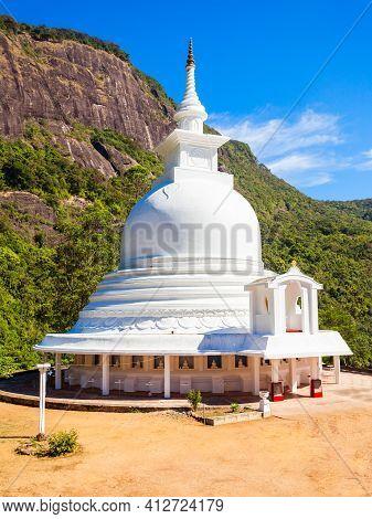 Japanese Peace Stupa Or Peace Pagoda At The Foot Of Adams Peak. Adams Peak Or Sri Pada Is A Tall And