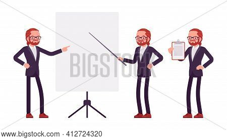 Businessman, Young Red Haired Office Worker Standing At Whiteboard. Manager In Smart Formal Wear, Ad