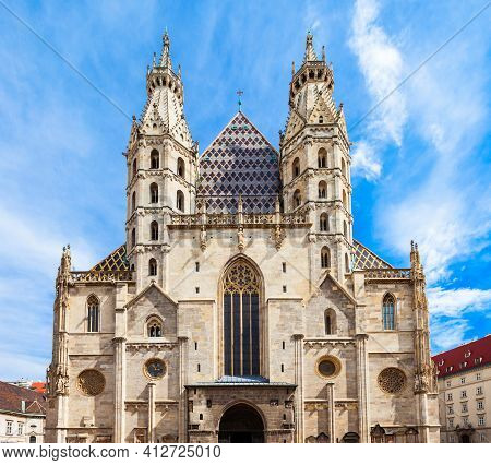 St. Stephens Cathedral In Vienna, Austria. St Stephens Cathedral Is The Most Important Religious Bui