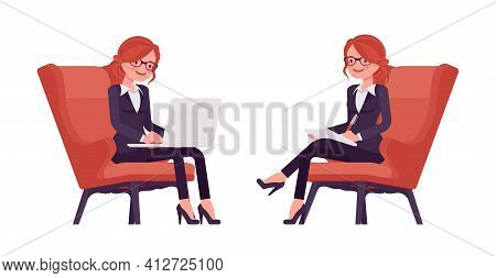 Businesswoman, Red Haired Office Worker Sitting Working With Laptop. Manager In Smart Formal Wear, A