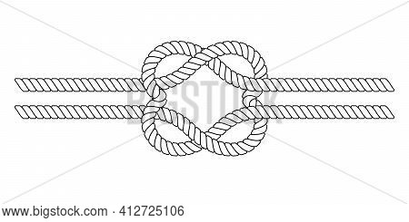 Rope Knot In The Shape Of Hearts, Vector Linked Hearts In A Knot Symbol Love And Close Relationships