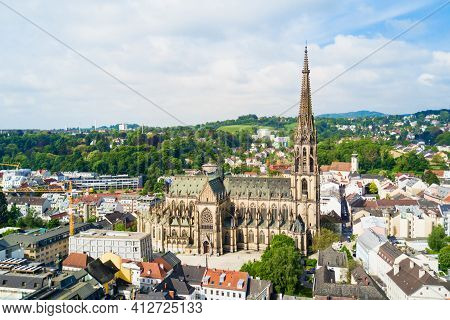 New Cathedral Or Cathedral Of The Immaculate Conception Or St. Mary Church Aerial Panoramic View. It