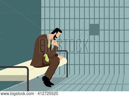 Simple Flat Business Vector Illustration Of A Businessman In Jail