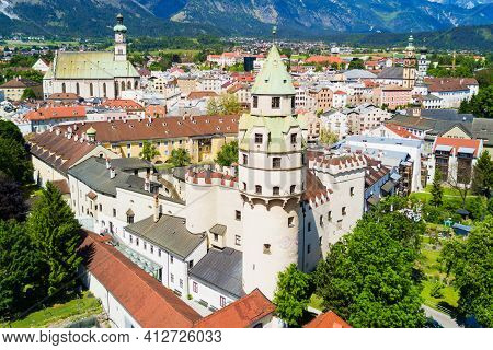 Hasegg Castle Or Burg Hasegg Aerial Panoramic View, Castle And Mint Located In Hall In Tirol, Tyrol