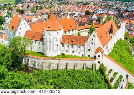 Hohes Schloss Fussen Or Gothic High Castle Of The Bishops Aerial Panoramic View, Germany. Hohes Schl