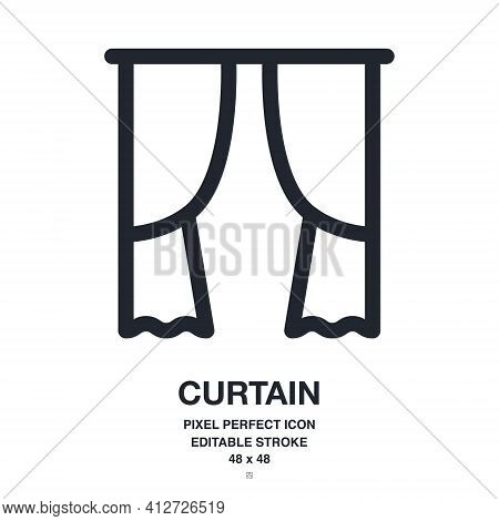 Curtain Or Drapery Editable Stroke Outline Icon Isolated On White Background Vector Illustration. Pi