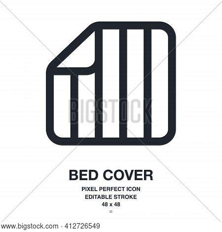 Bed Cover, Duvet Or Blanket Editable Stroke Outline Icon Isolated On White Background Vector Illustr
