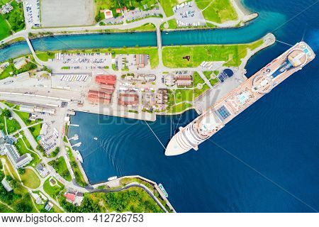Cruise Ship In Flam. Flam Is A Village In Flamsdalen, At The Aurlandsfjord A Branch Of Sognefjord, M