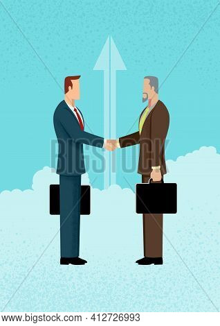 Simple Flat Vector Illustration Of Business, Business Deal, Business Concept Illustration.