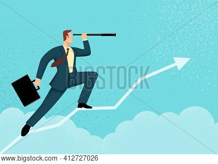 Simple Flat Vector Illustration Of A Businessman Using Telescope On Graphic Chart. Concept For Forec