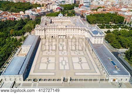 The Royal Palace Of Madrid Aerial Panoramic View. Palacio Real De Madrid Is The Official Residence O