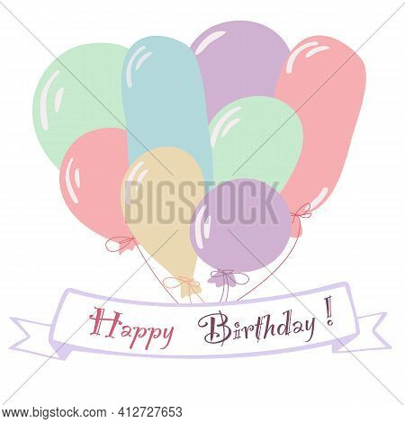 Happy Birthday Greeting Card With Flag And Colorful Baloons In Pastel Colors. Vector Illustration In