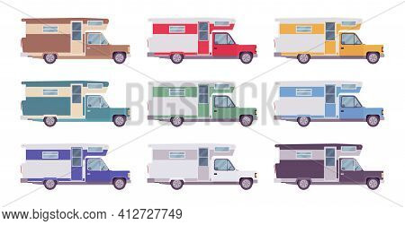 Campervan, Motorhome Car For Camp And Tourism. Auto, Large Motor Vehicle With Living Accommodation,