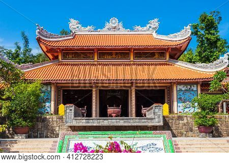 Long Son Pagoda Or Chua Long Son Is A Buddhist Temple In The City Of Nha Trang In South Vietnam