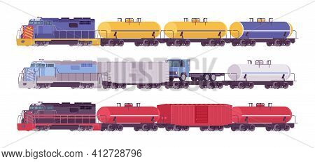 Rail Freight Colorful Train Set, Goods Wagons On Railway Transporting Cargo. Varied Color Railroad S