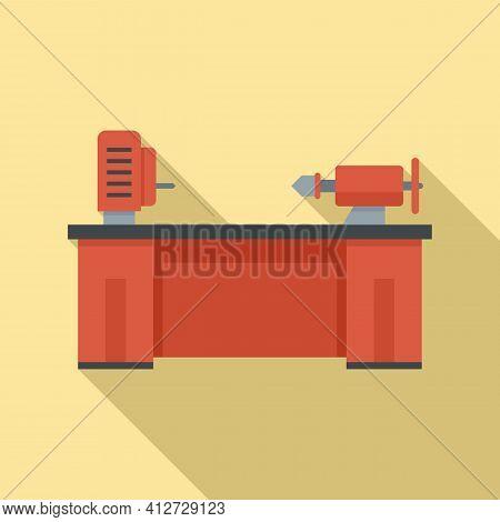 Lathe Machine Icon. Flat Illustration Of Lathe Machine Vector Icon For Web Design