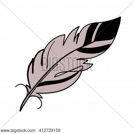 Simple Linear Clipart Feather, Boho Tattoo, Magic Amulet For A Witch. Element For Vintage Design And