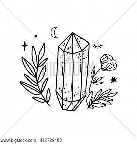 Crystal Vector Hand Drawn Line Art Crystals Leaf Flower Simple Graphic Gems, Isolated Celestial Elem