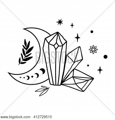 Crystal Moon Tattoo Drawing. Cute Magic Celestial Crystals, Stars Leaves. Mystical Moon Phase Graphi