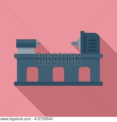 Industry Lathe Icon. Flat Illustration Of Industry Lathe Vector Icon For Web Design